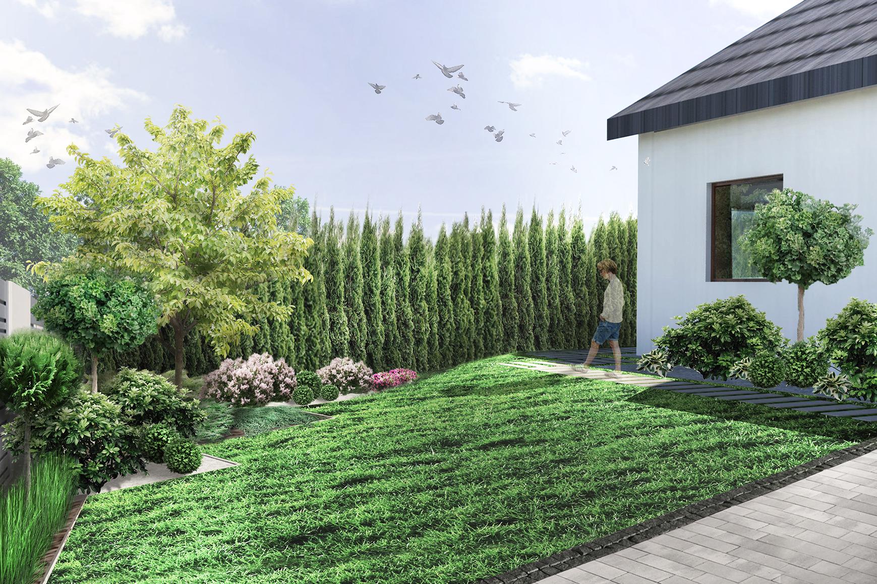 ogród geometryczny - wizualizacja ogrodu frontowego