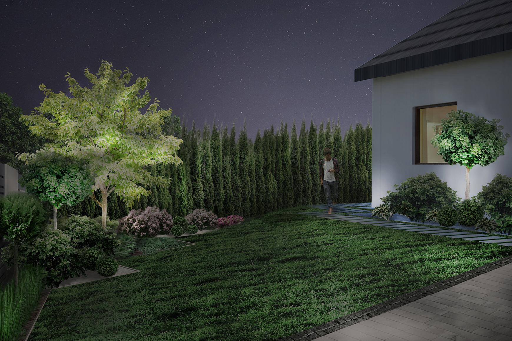 ogród geometryczny - wizualizacja oświetlenia ogrodowego