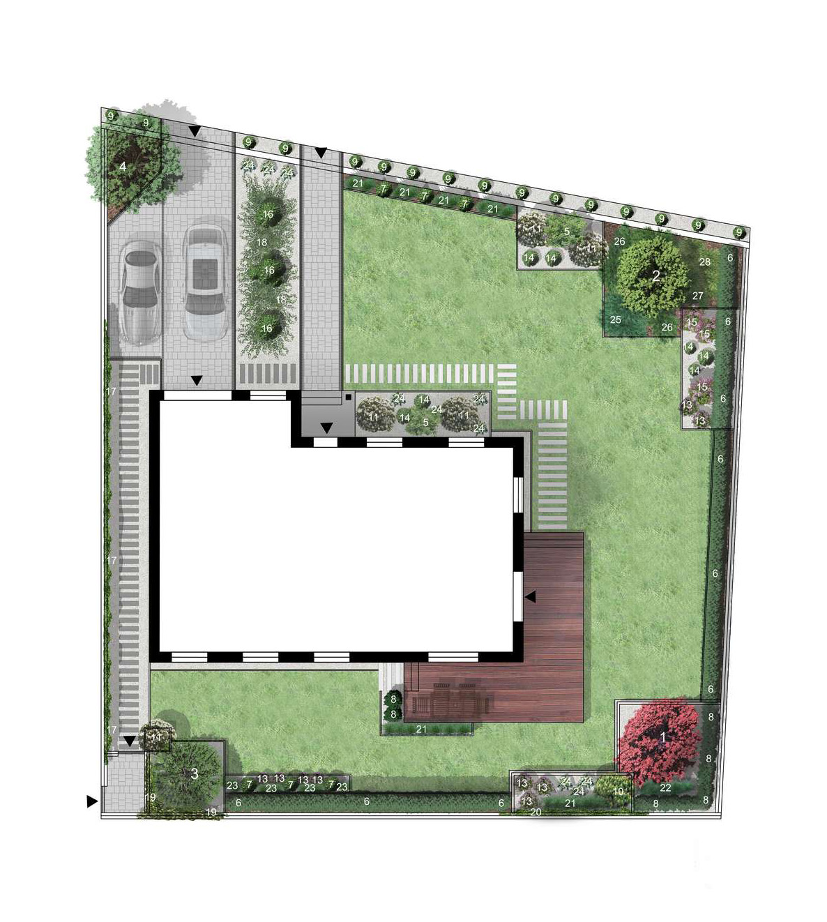 projekt nowoczesnego ogrodu geometrycznego