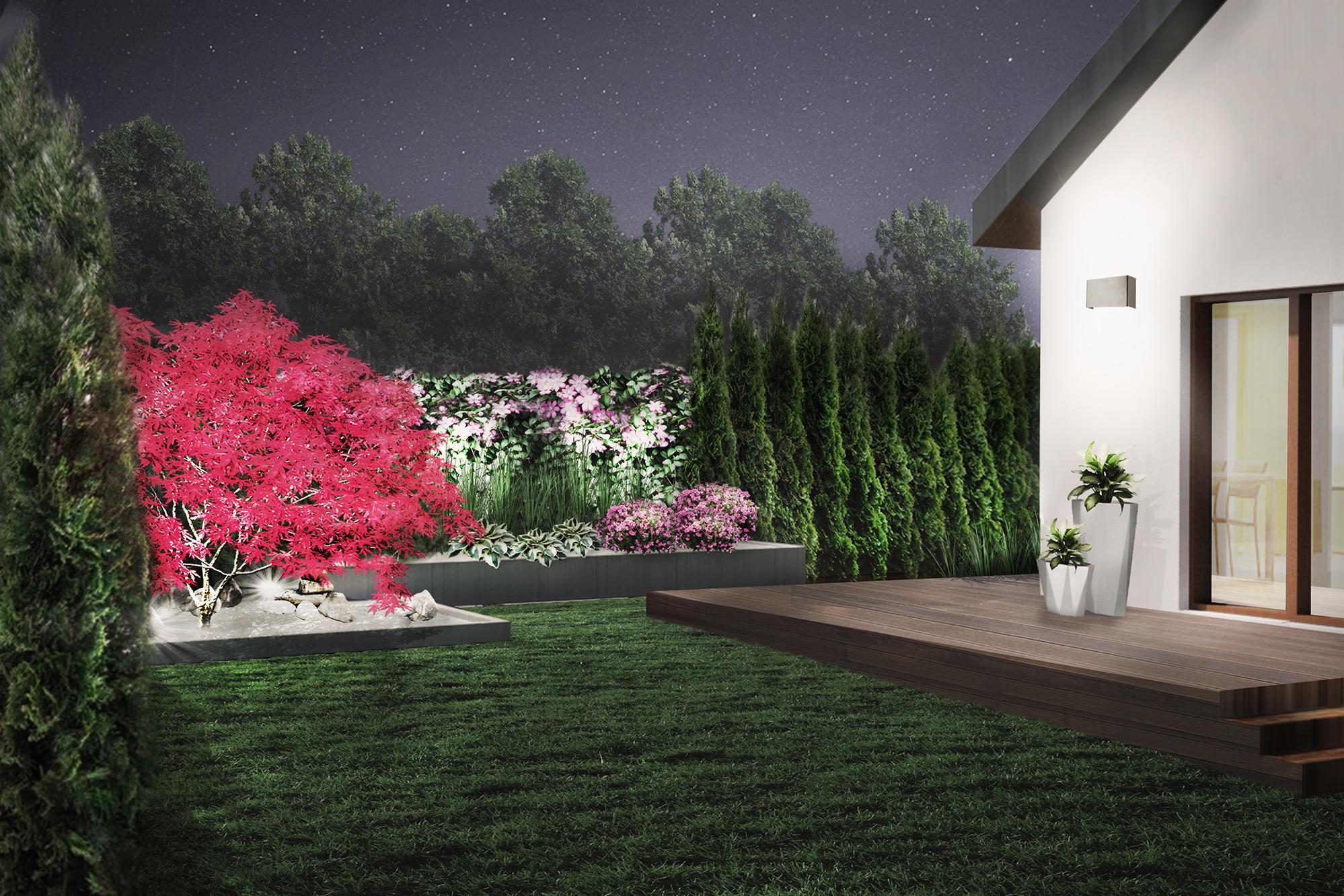 nowoczesny ogród geometryczny - oświetlenie roślin i tarasu