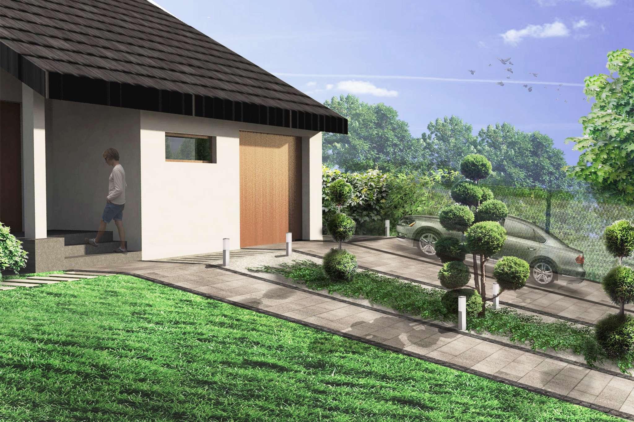 ogród geometryczny wizualizacja rabaty z bonsaiem przed domem