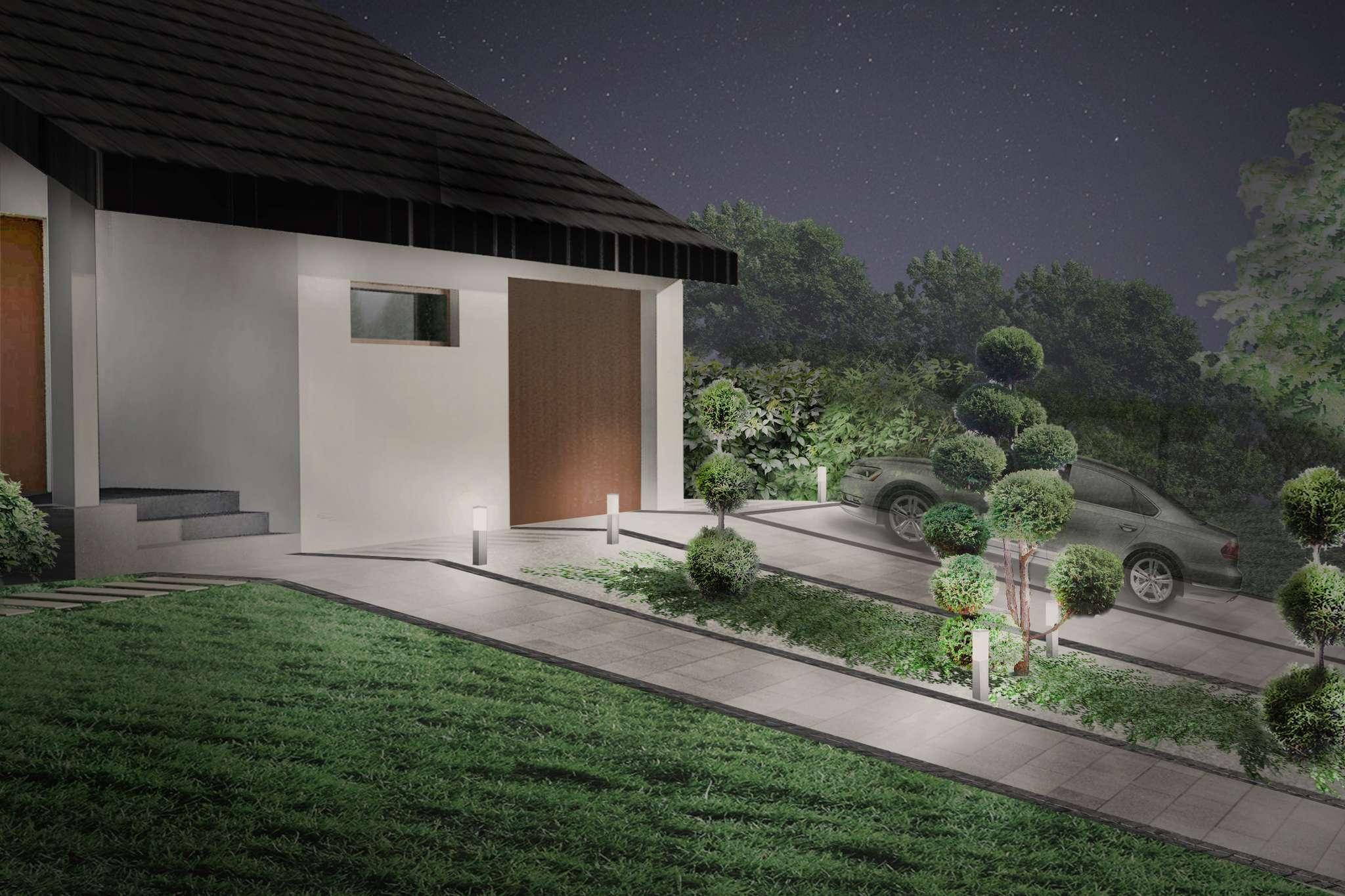ogród geometryczny wizualizacja oświetlenia w ogrodzie