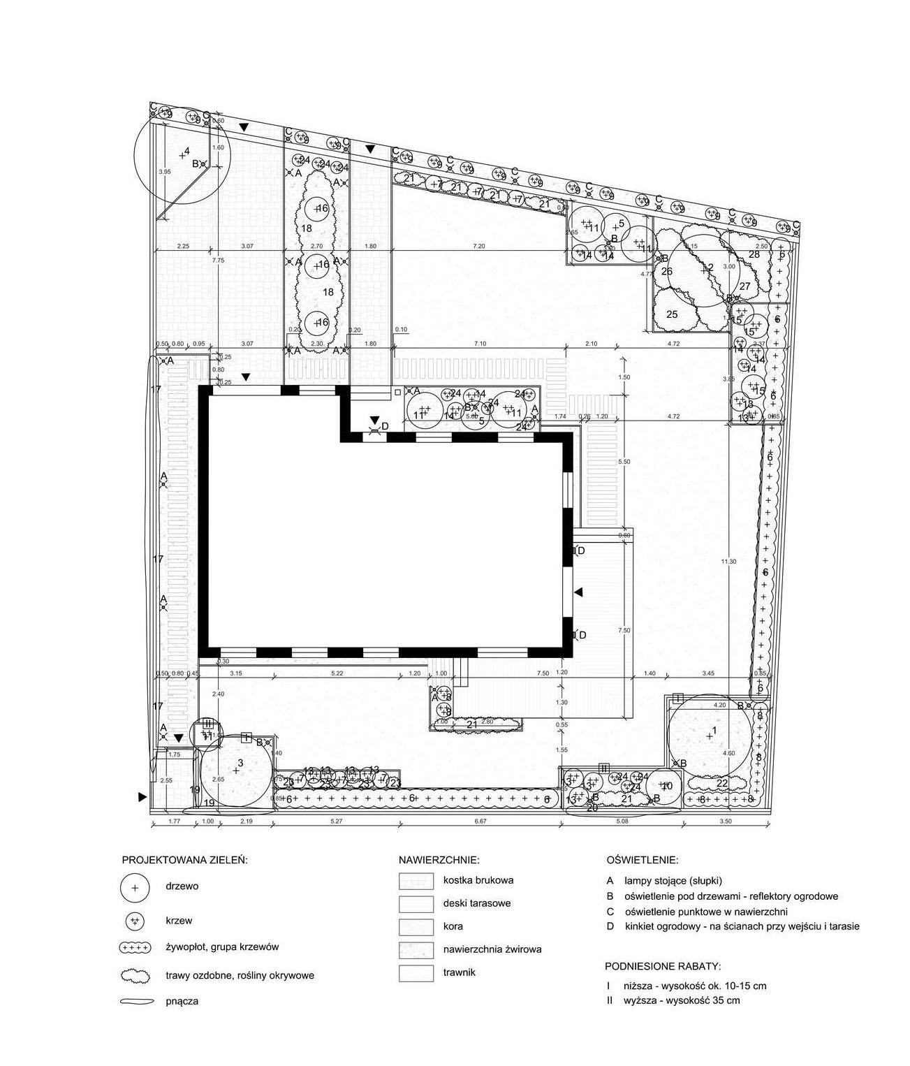 nowoczesny ogród geometryczny - projekt wykonawczy ogrodu