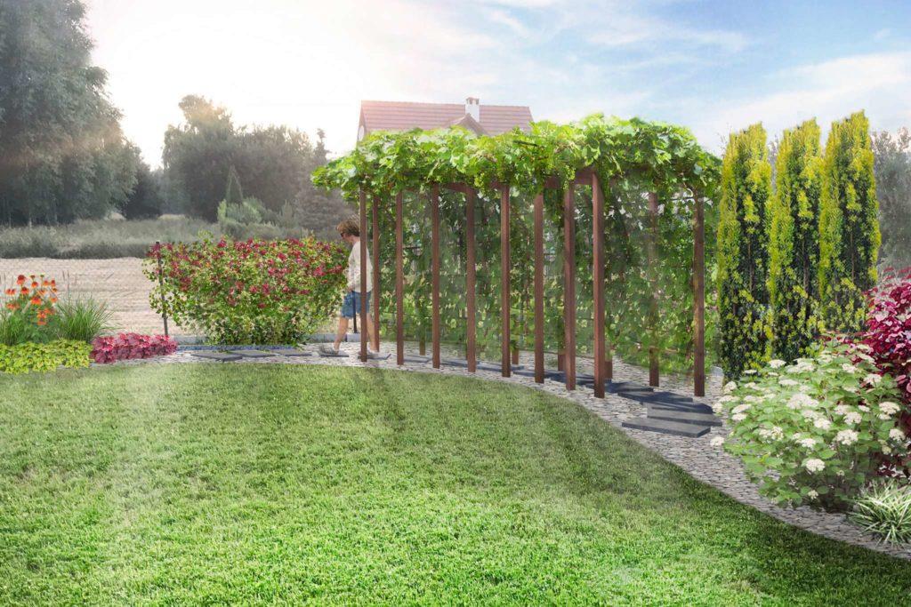 ogród w ognistych barwach - wizualizacja fragmentu z pergolą