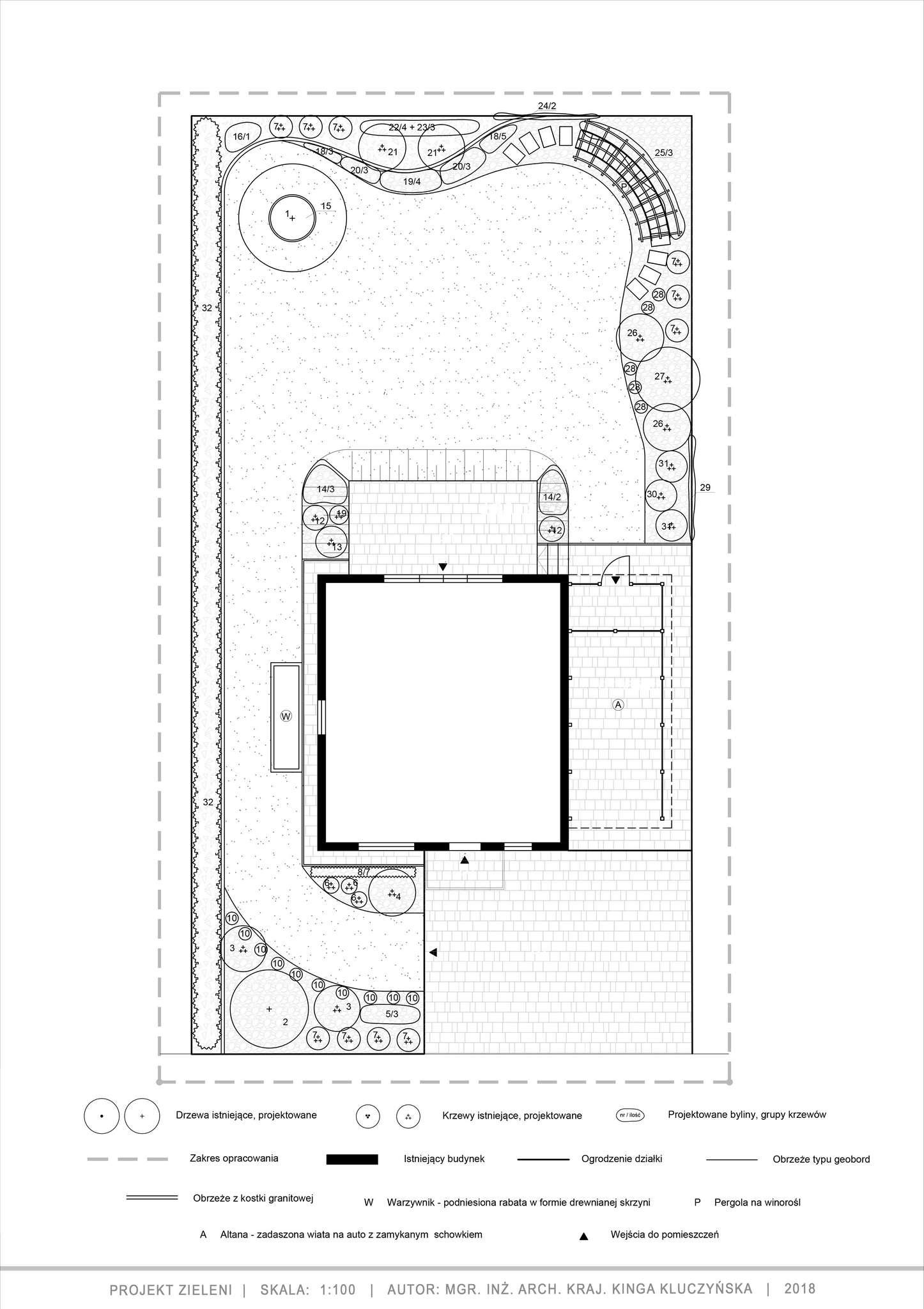 ogród w ognistych barwach - projekt techniczny zieleni
